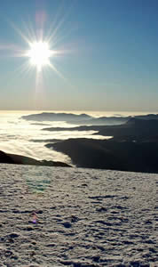 Cloud inversion as seen from Helvellyn summit plateau