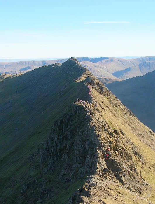Walkers tackling Striding Edge