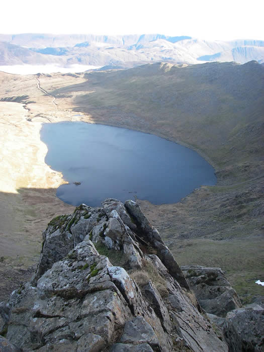 Looking down to Red Tarn from Helvellyn summit